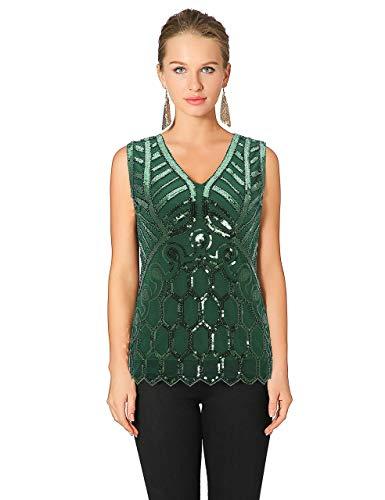 (Metme Vintage 1920er Jahre V-Ausschnitt leicht lose Flashy Perlen Pailletten Weste Tops Damen Loose Tunika Bluse Top Grün L EU42)