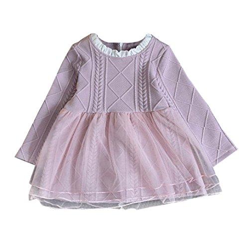 Hirolan Mode Kinder Baby Mädchen Gestrickt Sweatshirt Winter Pullovers Häkeln Tutu Spitze Kleid O-Ausschnitt Tops Rosa Blau Kleider (90cm, Rosa) (Kostüm Spieler)
