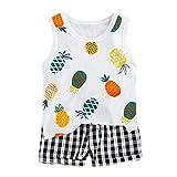 Knowin-baby body Ärmelloses Cartoon-Tanktop mit Ananas-Print für Kinder + zweiteiliges Set mit Karierten Shorts Kleinkind Baby Kinder Jungen Ananas Weste Tops Plaid Short Casual Outfits Set