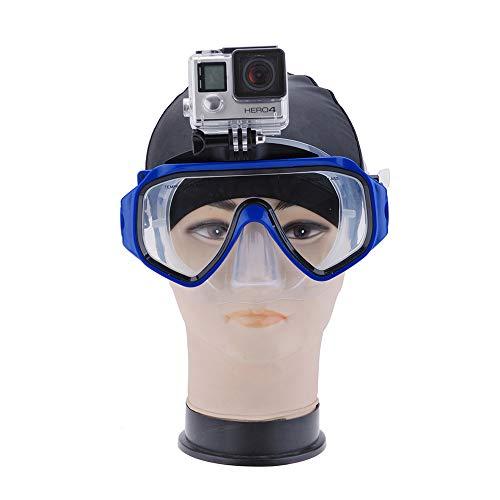 YOMRIC Zubehör für den Außenbereich, Tauchbrille Schnorchel Maske Mount Schwimmbrille Freedive Scuba für GoPro Hero 4/3/2 / + Sport Kameras Unterwasser Fotografie Zubehör (Farbe : Blau)