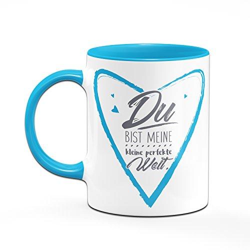 Herztasse Du bist meine kleine perfekte Welt - Tasse in blau - Kaffeetasse- Liebesgeschenk - 2