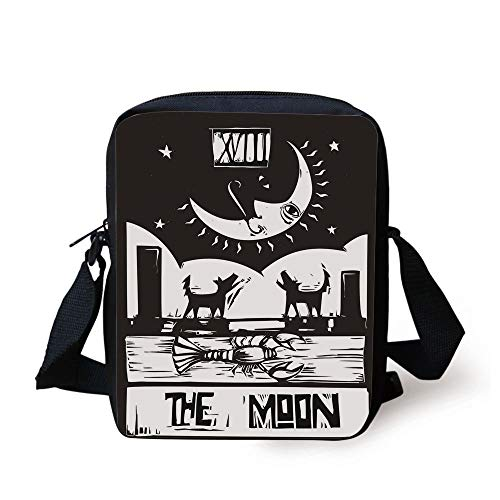 CBBBB Moon,Black and White Drawing Style Lobster Wolves Crescent Moon Stars Tarot Card Design Decorative,Black White Print Kids Crossbody Messenger Bag Purse -