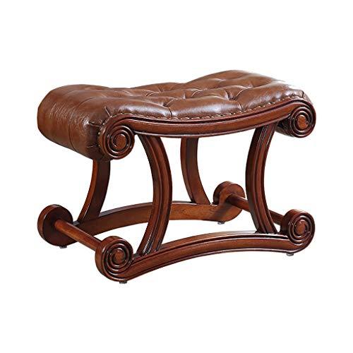 American Solid Wood Leder Sofa Hocker Fußbank, Retro Antique Brown Osmanische Schuhbank, einzigartige kreative Rutschfeste Gummi Holz Schuhbank für Wohnzimmer, Eingang, Tür (größe : S) -