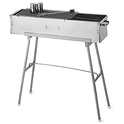 BBQ Grill Picknickgrill Tragbarer Klappgrill Rost Holzkohlegrill Edelstahl Barbecue Holzkohle Grill Für BBQ Party Garten Camping Grillfläche-groß, 80 * 18CM - Silber