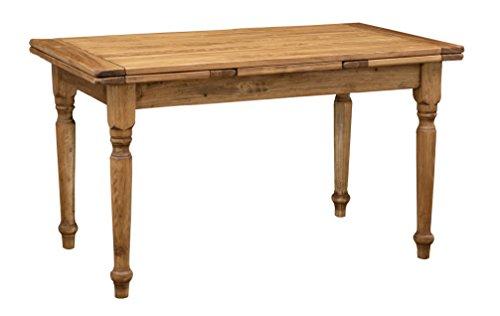 Tavolo allungabile country in legno massello di tiglio finitura naturale 140 x 80 x 80