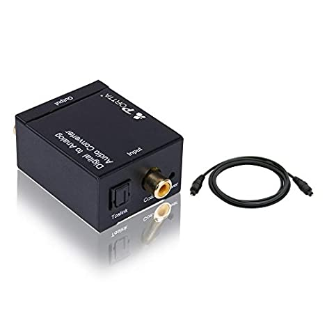 Portta Audio Converter Digital Coaxial or Toslink to Analog L/R RCA Audio Converter Support 2 Channel LPCM CH2.0 without Decode Function Plastic Case for DVD Player Speaker earphone etc