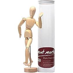 MONT MARTE Mannekin Masculino de 30cm en caja de acetato – muñeco articulado, marioneta de madera, maniquí