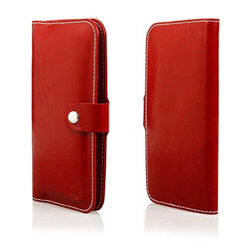 MOELECTRONIX HQ Buch Tasche ROT Klapp Schutz Hülle Wallet Flip Case Etui für Oukitel C2