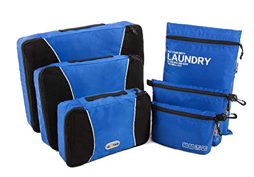 NEXTOUR Packing Cubes Luggage Storage Organisers Travel Laundry Bag Toiletry Bag and Electronics Accessories Pouch 6 Set for Luggage