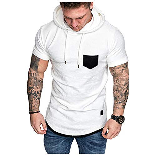 KPILP Herren Kurzarmhemd Oberteile Kapuzenpullover Fashion Csual Sport Slim Fit Freizeitmuster Large Size Hoodie Top Bluse Tuniken(Weiß,EU-54/CN-2XL)
