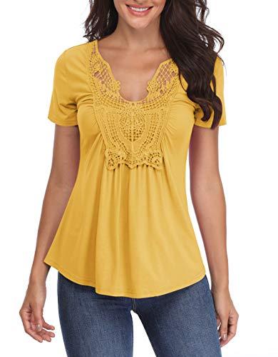 T-Shirts Damen V-Ausschnitt Blusen Sexy Tops Schlank Stretch Gelb Kurzarm Ärmel Brust Spitze Rüschen Schöne Mädchen - XL
