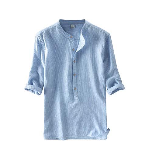 Tomwell Herren Hemd Leinen V-Ausschnitt Kurzarm Button Leinenhemd Sommer Regular Fit Freizeithemd Casual T-Shirt Himmelblau L -