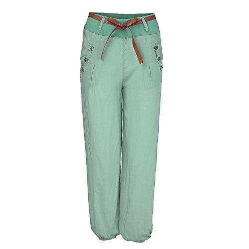 YWLINK Damen Haremshose Ballonhose Pluderhose Yogahose Aladinhose Harem Sommerhose Mit StoffgüRtel(M,Grün) - Ultra-low-rise-skinny Leg-jeans