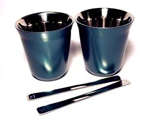nespresso lungo pixie fortissio 2 tassen aus metall gr n k che haushalt. Black Bedroom Furniture Sets. Home Design Ideas