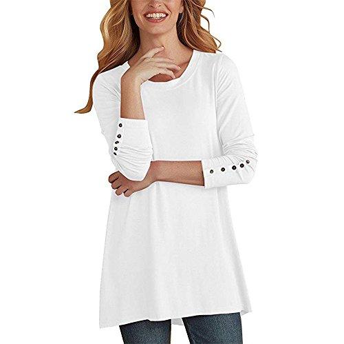 BHYDRY Frauen-beiläufige O-Ausschnitt-Lange Hülsen-Knopf-Lange Bluse übersteigt ()