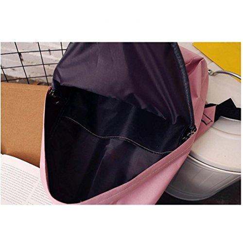 Longra Anello di materiale superiore del nylon di modo delle donne che attaccano lo zaino delle doppie cinghie Rosa