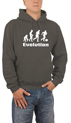 Evolution Fussball Kapuzen Sweatshirt - Pullover S-XXXL div. Farben, Grau, M (Kordelzug Charles Pullover)