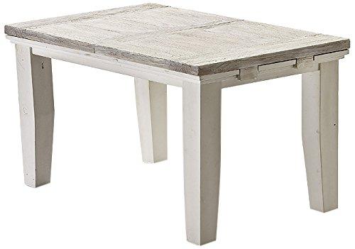 Robas Lund FW608T19 Opus Auszugstisch, Kiefer weiß/White Sanded, Einlegeplatte, Circa 140(180) x 79 x 90 cm