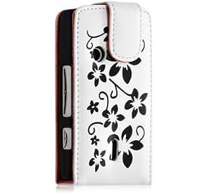 Housse Etui pour Sony Ericsson XPERIA X8 couleur blanc motif fleurs + film protection ecran