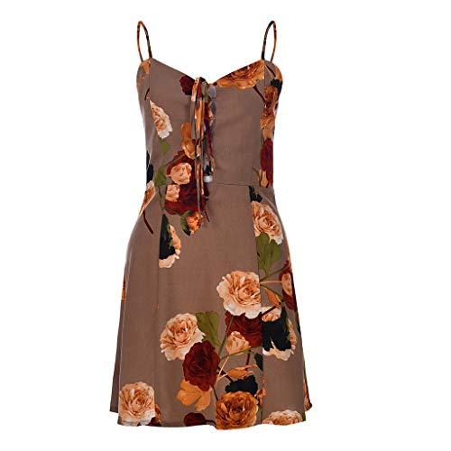 Elegante kleider Damen Kleid Cocktailkleider Ronamick Sommermode Urlaub Floral Sling Urlaub Stil Kleid für Damen(L, Kaffee) -