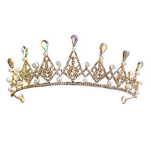 Lurrose Tiara Crown Kristall Strass Perle Luxus Prinzessin Königin Kronen Prom Tiara Hochzeit Tiaras Braut Diademe Kronen für Frauen Mädchen (Gold)