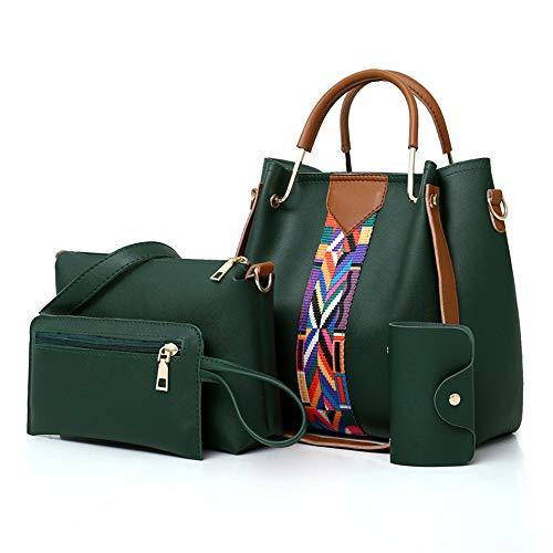AlwaySky Frauen-Handtaschen-Set 4 in 1 Soft-PU-Leder Top Griff Tasche, Tragetasche, Schultertasche Crossbody Beutel-Geldbeutel-Set (Grün) -