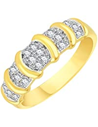 VK Jewels Delight Gold And Rhodium Plated Alloy CZ American Diamond Ring For Men [VKFR2091G]