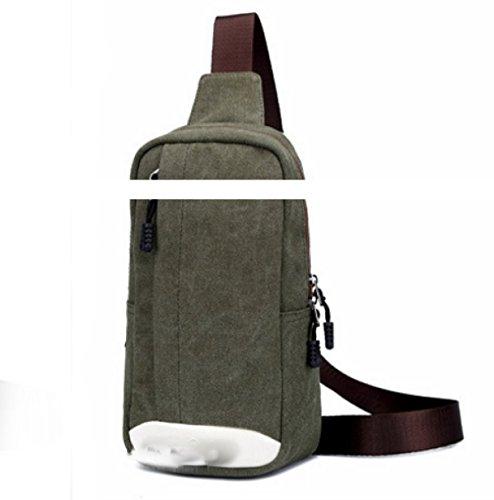 BULAGE Taschen Männer Brustbeutel Abriebfest Atmungsaktiv Handtaschen Freizeit Mode Großzügig Segeltuchbeutel Schulterbeutel Mannbeutel Tragbar Green