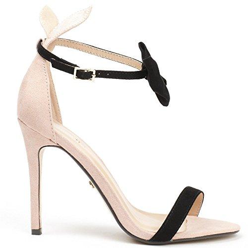 Ideal Shoes - Sandales à talon effet daim Bunny Rose