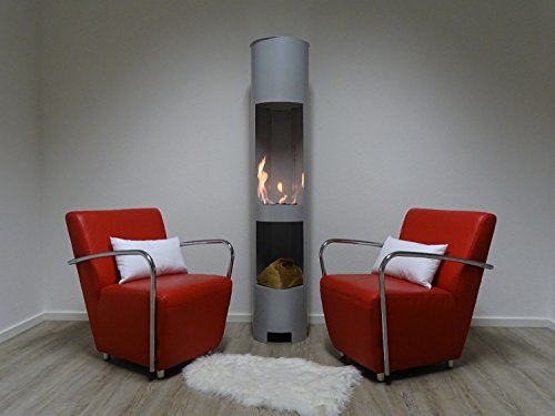 Etanol-y-Gel-Chimenea-de-gel-chimenea-Modelo-High-Tower-XL-Plata-180-cm-con-madera-compartimento-Incluye-3-latas-de-combustible