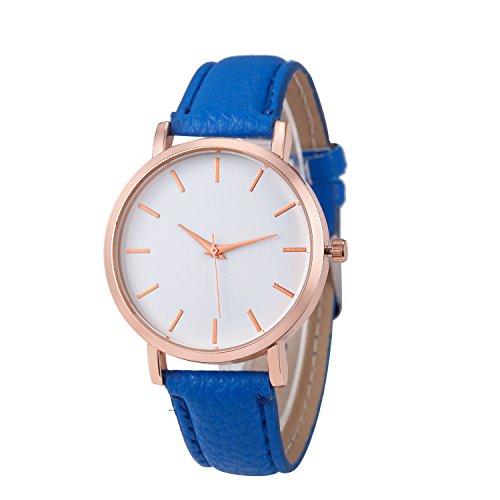 ♥ Loveso-Damen uhr ♥ Armbanduhr Arbeiten Sie einfache Edelstahl Uhren-Lederband analoge Quarz-Armbanduhr_Blau