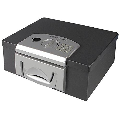 HMF - Cassaforte per documenti e denaro, chiavistello elettronico, 325 x 255...