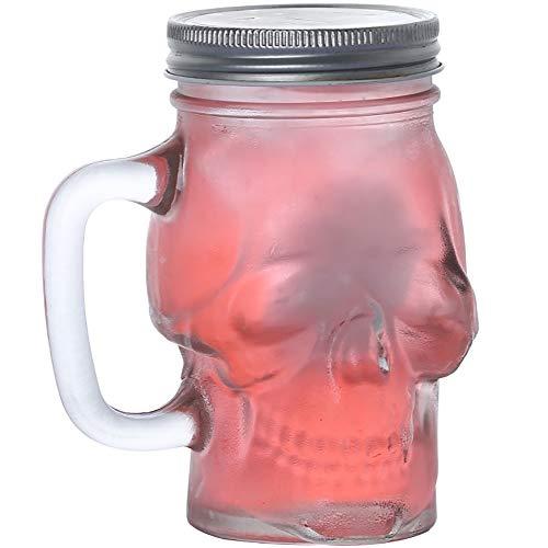 ZUEN Schädel Gesicht Bierkrug Trinkgläser mit Griff, Heavy Base Lustige Unterhaltungsglaswaren für Wasser Creativejuice und Halloween Dekorationen Getränkegeschenke