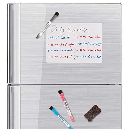 RUSPEPA Magnetic Dry Erase Whiteboard - Erinnerungsplatte Mit Fleckenresistentem Kühlschrank - Mit 3 Markern Und Großem Radiergummi Mit Magneten -A4