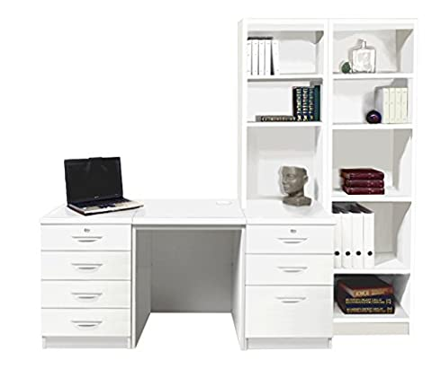 Home Office Furniture UK Desk with HUTCH Shelves Tall Narrow Bookcase Ideas Set, Wood, White, satin Profile,