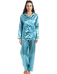 Pyjama long en satin - Bleu