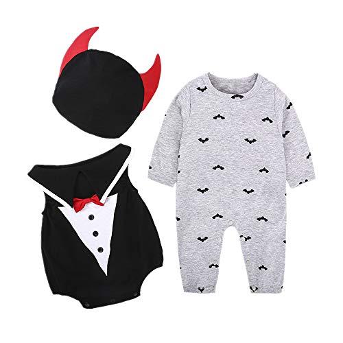 Kostüm Arzt Monat 12 18 - Halloween Kostüme Baby, Morbuy Junge Mädchen Babyoverall 3-6/6-12/12-18/18-24 Monate Kürbis Bat Süßes Kostüm Hut 3PC (90cm (12-18 Monate),Formelle Kleidung)