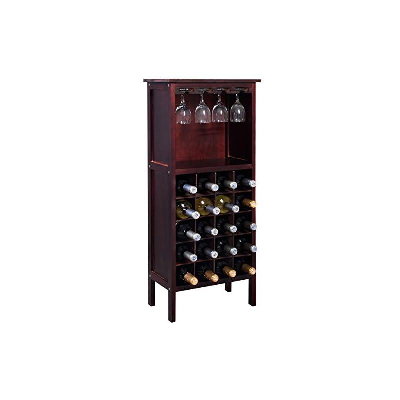 Costway Weinregal Mit Weinglashalter Flaschenregal Weinstnder Weinschrank Flaschenstnder Glserregal Holz