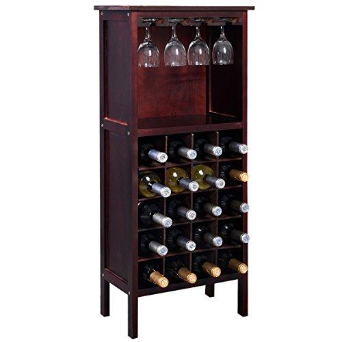 COSTWAY Weinregal mit Weinglashalter Gläserregal Flaschenregal Weinständer Holzregal Weinschrank Flaschenständer Standregal Holz Kolonialstil
