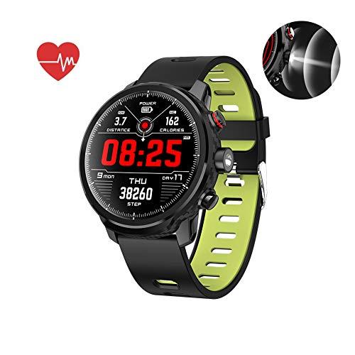 Smart Watch, Wasserdichtes IP68 musiksteuerung, Herzfrequenzmesser Fitness Tracker, Taschenlampe, Schrittzähler Uhr Kinder Frauen Männer, Kompatibel mit iPhone Samsung S9,Green