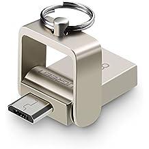 Memoria USB OTG para Android, UGREEN Unidad Flash USB 2.0 y OTG Micro USB 2 en 1 Pendrive Dual para Android OTG Móviles y Tabletas Rotación a 180 Grados, Carcasa Metálica y Anilla de Llavero (Plata, 16GB)
