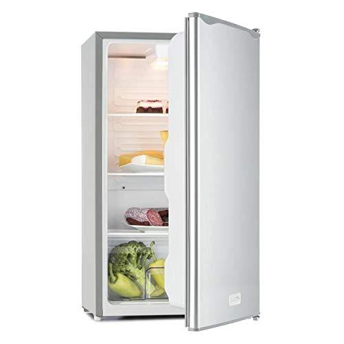 Klarstein Beerkeeper - Kühlschrank, 92 Liter, 83 cm hoch, 3 Fächer Gemüsefach, 7-stufiger Thermostat, Innenbeleuchtung, 60 Watt Nennleistung, silber