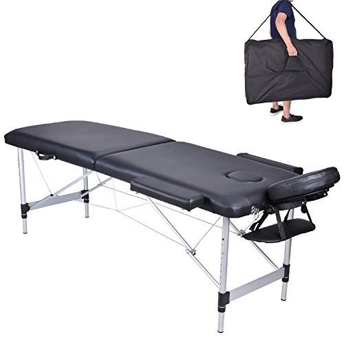 Pawstory 2 zone legno alluminio lettini da massaggio pieghevole tavolo da massaggio portatile estetica tatuaggi con poggiatesta e bracciolo, borsa da trasporto (nero)