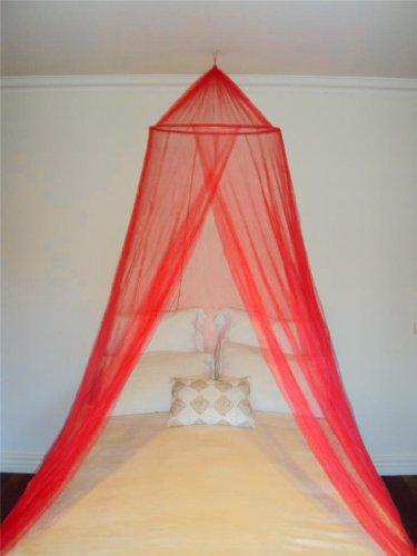 A-Express Moskitonetz Baldachin Mückennetz Betthimmel mit Einem Eingang romantischer Schutz vor Insekten Schlafzimmer Fliegennetz 2.5m Höhe x 10m Rund - Rot