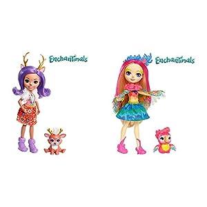 Enchantimals Muñeca con Mascota Danessa Deer (Mattel FNH23) + Muñeca con Mascota Peeki Parrot (Mattel FJJ21)