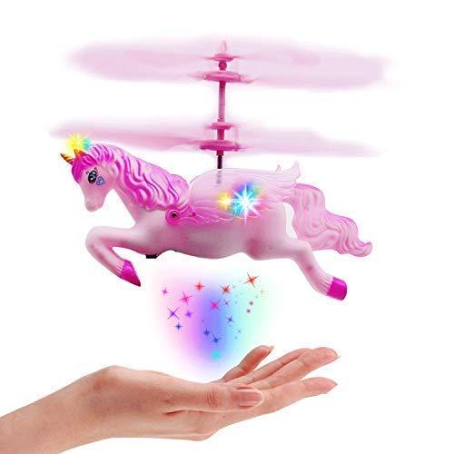 Flying Unicorn Drone Toys Regalos para niñas Edad 6 7 8 9-14 años, Rosa Mini Control de Mano Flying Helicopter Unicorn Fairy Doll Toys