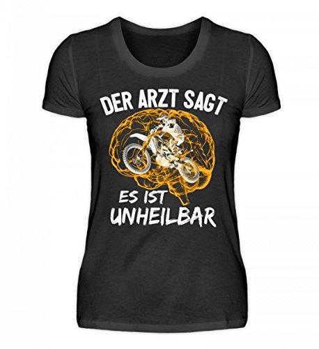 Shirtee Hochwertiges Damen Organic Shirt - Motocross Shirt · Motorrad-Bekleidung · Geschenkidee für Endurosport Fans · Dirtbike Motiv/Spruch Schwarz