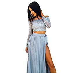 Women Dresses,women Lace Long Sleeve Summer Tops+chiffon Formal Party Cocktail Long Skirt (S, Blue)