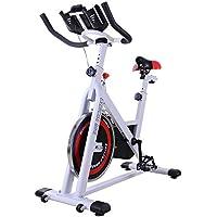 Homcom Bicicleta Estática de Spinning Bicicleta de Fitness Pantalla LCD Asiento y Manillar Ajustable Resistencia Regulable