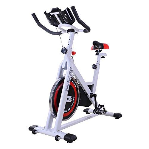 Homcom Bicicleta Estática de Spinning Bicicleta de Fitness Pantalla LCD Asiento y Manillar Ajustable...